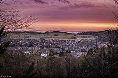 Peebles at Sunset (Scotty Rae) Tags: sunset panorama landscape scotland town spring dusk hills peebles scottishborders venlaw