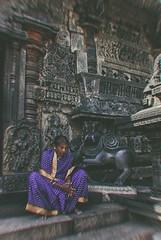 Surrender. (Prabhu B Doss) Tags: travel woman india temple photography nikon saree southindia hoysala incredibleindia d80 chennakesava templearchitecture prabhubdoss