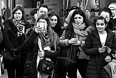 Ringside (Owen J Fitzpatrick) Tags: owenjfitzpatrick dublin tamron ojf street people woman female crowd audience grafton women men male scarf caps woollen woollies performance footfall shoppers 2015 pretty beauty joe 50mm nifty fifty f14g prime lens multiracial oriental asian photography chasing pavement nikon d3100 ringside beautiful expression variation expressive visages les mono monochrome bw blackandwhite blackwhite black white candidphoto candidphotography candidportrait candid unposed natural blancoynegro pretoebranco schwarzundweis  hiybi  hi y bi nigra kaj blanka