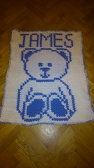 Bear blanket for James (dochol) Tags: baby chart cute wool teddy crochet craft graph yarn teddybear blanket afghan bebe alphabet manta personalised croche crochethooks haakenwert