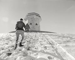 climbing druid hill (ohidied) Tags: snow film analog mediumformat kodak trix baltimore blizzard selfprocessed circularpolarizer mamiyarb67 druidhillpark mamiyasekorc50mm ilfosol3