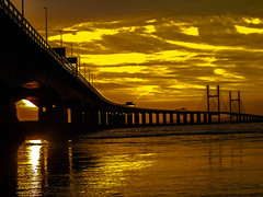 The Golden Severn Bridge (payne_mark70) Tags: uk bridge sea england sky sun black southwest west water yellow set clouds wow golden cool wide wicked hour