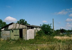 op - abandoned shed (johnnytakespictures) Tags: abandoned film pen buildings kodak farm nursery farming olympus abandon analogue agriculture halfframe coventry derelict westmidlands warwickshire dereliction reclaimation ee3 gold200 binleywoods