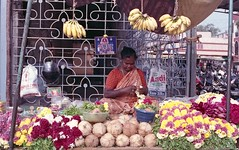 Flower seller (Karthik Thorali) Tags: india streets flower canon outdoor weekend superia streetphotography fujifilm chennai 800 seller cwc 500n clickers triplicane fujifilmsuperia800 130216 chennaiweekendclickers cwcchennaiweekendclickers 13feb2016 cwc508