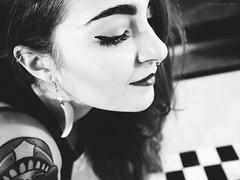 above the battlefield (Radan Rei) Tags: portrait blackandwhite bw art blancoynegro girl beauty closeup tattoo blackwhite bokeh surrealism profile surreal olympus muse pro editorial series earrings battlefield zuiko rei omd chessboard em1 radan radanrei