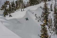 size does matter.  Teton cornice drop (Jeff Bernhard) Tags: hole jackson snowboard wyoming tetons cornice snowmobiling splitboard