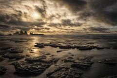 Golden Rocks (Maddog Murph) Tags: ocean new light sunset sea sunlight seascape west reflection beach water beautiful yellow clouds landscape islands golden coast rocks long exposure waves moody cloudy zealand headlands peninsula seashore shimmer greymouth