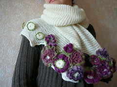 knitted & crochet scarf with handmade buttons (natalie_kova) Tags: scarf long crochet knitted nicescarf knittedscarf crochetscarf beautifulscarf handmadebuttons lovelyscarf finescarf