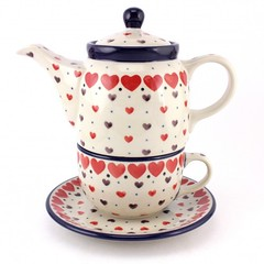 104-IMG_0290-500x500 (slavicapottery) Tags: red cup set heart tea handmade teapot lovely saucer polishpottery