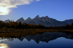 The Giant's Mirror (jrlarson67) Tags: park travel blue trees vacation sky cloud mountain mountains reflection nature water forest river landscape mirror natural outdoor united scenic peak grand landmark national serene states teton tetons 1424