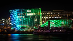 The Old and the New (karlbauernhansl) Tags: blue reflection green museum lights ship led future steamboat schiff danube arselectronica lichter reflexionen donau zukunft aec arselectronicacenter