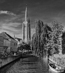 Historic Bruges (Canon PowerShot G3X) (DxO Edited) (Silver Efex BW Filter) (markdbaynham) Tags: bw monochrome canon silver buildings 1 town blackwhite belgium powershot historic canals filter bruges flanders 20mp superzoom bruggen 1inch efex g3x