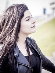 Nathalie, Amsterdam 2016: Elegant profile (mdiepraam (35 mln views)) Tags: portrait girl beautiful dutch station amsterdam stairs pretty platform nathalie brunette elegant leatherjacket 2016 rietlandpark naturalglamour