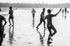 The Beach Boys-DSC_2700 (thomschphotography3) Tags: ocean blackandwhite beach boys water reflections fun football outdoor burma myanmar birma youngmen einfarbig chaungtha