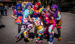 2016 - Mexico City - The Clowns of Coyoacan (Ted's photos - Returns mid May) Tags: park shadow portrait people pose mexico mexicocity colorful shadows teeth group posing cropped colourful groupphoto clowns vignetting dents 2016 plazahidalgo parkscene inapark tedsphotos peopleandpaths tedsphotosmexico plazahidalgocoyoacan