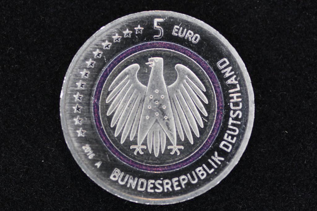 German 5 Euro Coin Reverse Pascal Volk Tags Money Macro Closeup