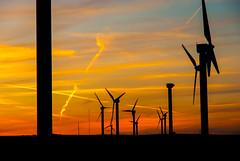 Linear (iratebadger) Tags: sunset sky orange nikon sundown yorkshire nikkor contrails windfarm d80 nikond80 orangehour