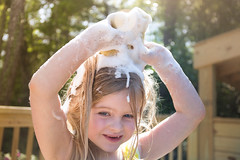 Suds (Rob Briscoe) Tags: summer silly fun soap warm child play alabama daughter bubbles cleaning messy sponge