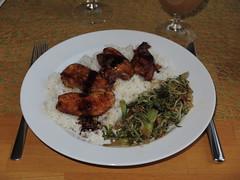 Mungobohnen-Gemse zu marinierter Hhnchenbrust auf Reis (multipel_bleiben) Tags: essen reis gemse geflgel sprossen