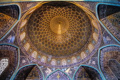 0435 - Iran, Esfahan, Sheikh Lotfollah Mosque HDR (Barry Mangham) Tags: travel iran islam religion mosque lookingup esfahan hdr photomatix