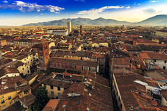 Lucca from above (Arutemu) Tags: city italien italy canon europe italia european cityscape view perspective eu ciudad wideangle lucca tuscany toscana renaissance birdseyeview ville  6d       eos6d    canon6d