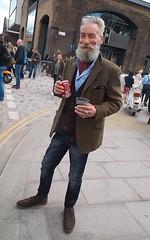 Groovy old man (oldrockerward) Tags: man london vintage beard hipster coke can jeans jacket denim cheerful kingscross wrinkles whitehair cravat suedeshoes skinnyjeans vintagefair groovyoldman