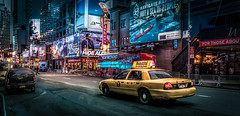 Taxi to The Square (Gordon McCallum) Tags: nyc applebees sony 7thavenue yellowtaxi newyorkmetro nightstreetscene sigmaartlens sonya6000