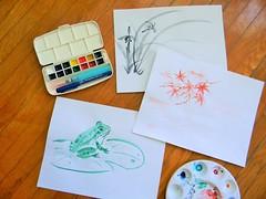 brush painting practice (NaoCan) Tags: watercolor watercolour sumie suibokuga sketchkit travelkit