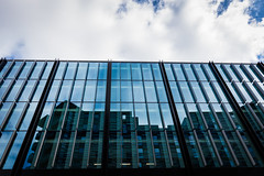 Quarter Mile Development-3 (Philip Gillespie) Tags: street city blue windows sky sun white reflection tower glass up skyline architecture clouds contrast work buildings outside photography scotland office spring edinburgh cityscape angle outdoor wide meadows april series block leading 2016 sequent