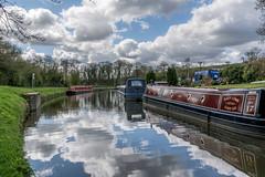 DSC_0007  - East Marton moorings (SWJuk) Tags: uk england water clouds reflections boat canal spring nikon unitedkingdom britain outdoor yorkshire bluesky gb northyorkshire towpath moorings lightroom barges leedsliverpoolcanal 2016 narrowboats 18300mm eastmarton d7100 rawnef swjuk nikond7100 apr2016