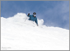 Last Powder Day Of The Season (Photo-John) Tags: winter snow ski sports canon eos utah skiing action powder adventure saltlakecity skiresort editorial alta bluebird slc skier stockphoto lcc closingday powderday littlecottonwoodcanyon stockphotography skiutah editorialphotography 7dmkii 7dmarkii powderporn