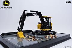 02_John_Deere_75G (LegoMathijs) Tags: road scale yellow john chains team model lego display technic dozer blade snot deere compact excavator moc 75g foitsop decalls legomathijs