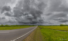 Storm Chasing... (Ken Thomann Photography) Tags: road trees sky panorama storm green cars nature water field grass rain weather clouds canon mississippi landscape fun concrete outside photography highway view traffic unitedstates wind outdoor pano gorgeous dramatic wideangle panoramic explore april wildflowers lightning clover velocity mph gravel thunderstorms precipitation tupelo stormchasing reallyrightstuff deepsouth aprilflowers shear naturesbeauty canon6d canon1635mmf28lii ushighway45 barometricpressure outinnature kenthomannphotography