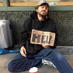 Patrick, 4th Street (vhines200) Tags: sanfrancisco sign homeless panhandler 2016