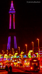Towards the Tower (JKmedia) Tags: street sky people tower lamp wheel silhouette festival night reflections lights sand colours power transport illuminations tram rail ferris artificial celebration electricity pedestrians manmade handheld vehicle annual colourful bigwheel tramway blackpool afterdark powered blackpooltower 2015 canoneos7d boultonphotography