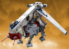 Republic Dropship and AT-TE (Jasbury1) Tags: star ship republic lego space walker wars clone carrier starship atte gunship starfighter laat geonosis laatc