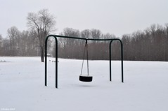 Somewhere only we know (Studio 9265) Tags: park trees winter usa white snow cold playground america nikon play place state united indiana tire falls swing pole madison states february 2016 clifty d5000