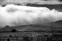 Wired Landscape _ bw (Joe Josephs: 2,600,180 views - thank you) Tags: california blackandwhite mountains weather fog clouds landscape foggy fineartphotography blackandwhitephotography travelphotography californialandscape landscapephotography foggyweather outdoorphotography fineartprints joejosephsphotography