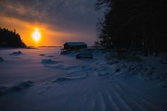 Sunset at Maijansalmi (Jyrki Salmi) Tags: sunset snow ice finland nikon nikkor boathouse jyrki d600 1635mm salmi pyht maijansalmi vanhaniemi