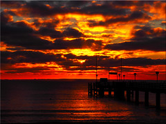 Burning  Sky (Ostseetroll) Tags: sky clouds sunrise geotagged deutschland wasser himmel wolken balticsea sonnenaufgang ostsee deu schleswigholstein spiegelungen scharbeutz haffkrug geo:lat=5405216980 geo:lon=1075310330