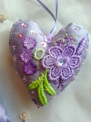 Lilac Embroidered Silk Hanging Heart with hand sewn embelishments of lace, beads, ribbons and buttons Art for your Home Valentines Gift (02) RustyfishKT (RustyFish101) Tags: sock sewing crochet jewellery kits etsy rustyfishkt