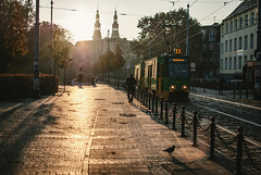 pace (ewitsoe) Tags: street city morning autumn light urban man art sunrise work 35mm point design nikon cityscape view cathedral tram poland polska pace poznan wanderign d80 ewitsoe erikwitsoe
