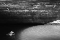 Shadowland (Russ Barnes Photography) Tags: bridge shadow white black mono canal swan curve