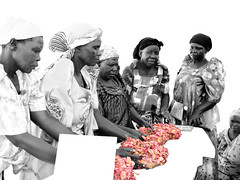 Daughters (// Ladwar Photography //) Tags: africa family pink flowers red people flower green loss photoshop sadness design intense emotion african sony traditional cybershot east clothes funeral fabric motorcycle uganda sorrow colormanipulation acholi