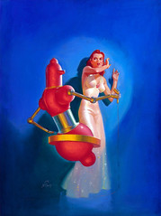 The Floating Robot, Fantastic Adventures cover, January 1941 by Harold W. McCauley (Tom Simpson) Tags: woman art illustration painting robot boobs floating lingerie redhead 1940s cover scifi sciencefiction scared 1941 nightgown frightened nighgown negligee fantasticadventures haroldwmccauley thefloatingrobot