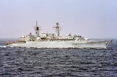 HMS Brave at Sea (f0rbe5) Tags: marine ship power ae1 glasgow navy vessel tyne maritime engines third brave yarrow 1986 frigate naval atlanticocean trials warship outboard batch2 coldwar rn spey royalnavy specialised esm f94 type22 towedarray gasturbines type22frigate type22batch2 hmsbrave hotweathertrials