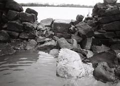 06a Boxing day floods 2015 near Otley (I ♥ Minox) Tags: blackandwhite film monochrome olympus ilfordhp5 hp5 olympusom2 ilford om2 floods ilfordhp5plus 2015 olympusom2n om2n boxingdayfloods