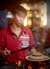 Claypot Cooking in Chinatown (mshap821) Tags: street food cooking bokeh sparks