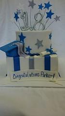 Graduation and Birthday Cake (tasteoflovebakery) Tags: birthday blue 2 two white stars diploma graduation teen cap teenager congratulations tier congrats tiered