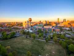 Downtown 2 (RjayP Photography) Tags: sunset us downtown unitedstates knoxville tennessee aerial phantom birdseyeview skyview drone phantom3 dji dronephotography phantom3pro